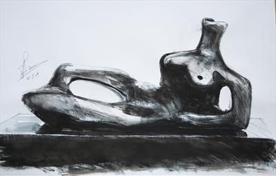 Study from Henry Moore-Reclining Figure 1959(Prep Study)