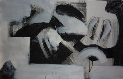 Charcoal and Acrylic Abstraction 1