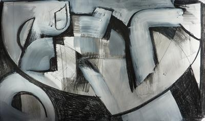 Charcoal and Acrylic Abstraction 9