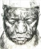 African Ambassador by Josh Bowe, Drawing, Conte Crayon