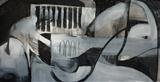Charcoal and Acrylic Abstraction 8 by Josh Bowe, Painting, Mixed Media
