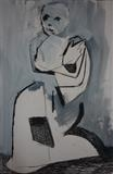 Figurative Abstraction (Monochrome) 2 by Josh Bowe, Painting, Mixed Media on paper