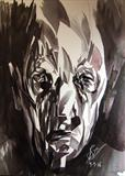 Imaginary Portrait 24 by Josh Bowe, Painting, Ink on Paper