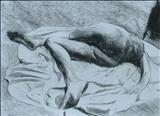 Laying Figure(sketch) by Josh Bowe, Drawing, Conte Crayon