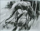 Slumped Figure(sketch) by Josh Bowe, Drawing, Conte Crayon
