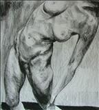Truncated Torso Study 2 by Josh Bowe, Drawing, Conte Crayon