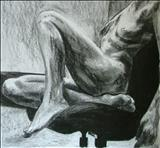Truncated Torso Study 3 by Josh Bowe, Drawing, Conte Crayon