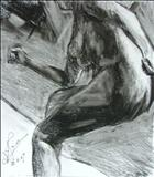 Truncated Torso Study 4 by Josh Bowe, Drawing, Conte Crayon