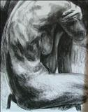 Truncated Torso Study 7 by Josh Bowe, Drawing, Conte Crayon