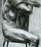 Truncated Torso Study 9 by Josh Bowe, Drawing, Conte Crayon