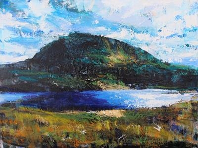 Benhope, from Eriboll, across Loch Hope by Josh Bowe, Painting, Oil on canvas