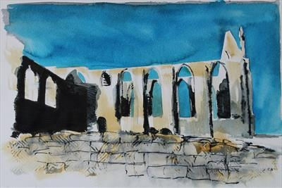Bolton Abbey - Preliminary Study Two by Josh Bowe, Painting, Ink on Paper