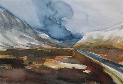 Highlands, highroad - Initial Study by Josh Bowe, Painting, Ink on Paper
