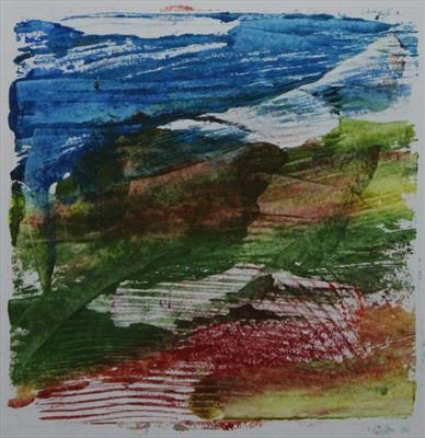 Landscape Greetings Card(Monotype) 4 by Josh Bowe, Artist Print