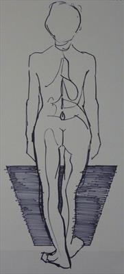 Line Figure Sketch 10 by Josh Bowe, Drawing, Pen on Paper
