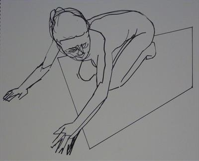 Line Figure Sketch 11 by Josh Bowe, Drawing, Pen on Paper