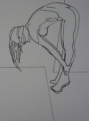 Line Figure Sketch 15 by Josh Bowe, Drawing, Pen on Paper