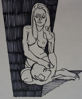 Line Figure Sketch 4 by Josh Bowe, Drawing, Pen on Paper
