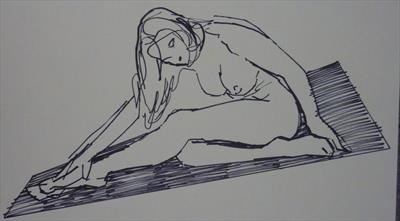 Line Figure Sketch 6 by Josh Bowe, Drawing, Pen on Paper