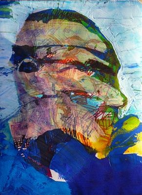 Pensively by Josh Bowe, Painting, Mixed Media on paper