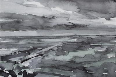 Whitby(Jetty)-Initial Study by Josh Bowe, Painting, Ink on Paper