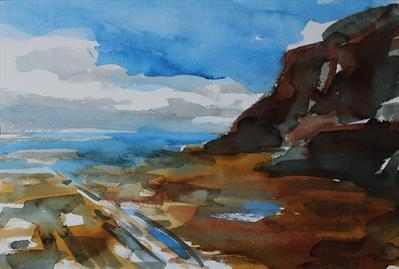 Whitby (Jetty) Three-Initial Study by Josh Bowe, Painting, Ink on Paper