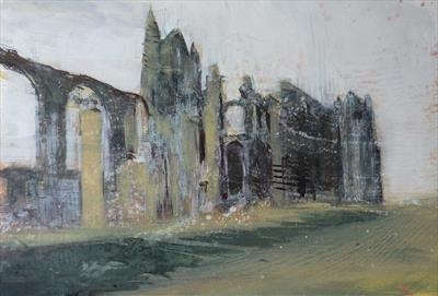 Whitby Abbey Four by Josh Bowe, Painting, Acrylic on paper