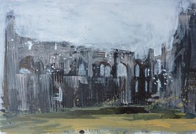 Whitby Abbey One by Josh Bowe, Painting, Acrylic on paper