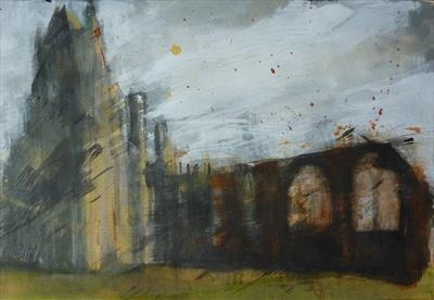 Whitby Abbey Ten by Josh Bowe, Painting, Acrylic on paper