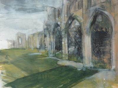 Whitby Abbey Two by Josh Bowe, Painting, Acrylic on paper