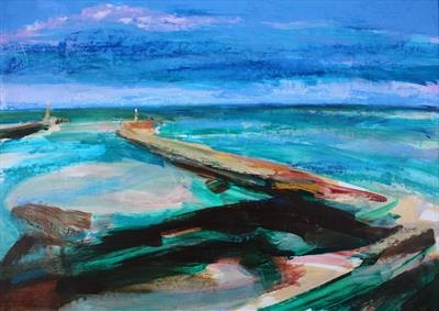 Whitby Pier-Sentries by Josh Bowe, Painting, Oil on Linen