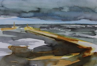 Whitby Pier-Sentries - Initial Study by Josh Bowe, Painting, Ink on Paper
