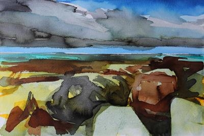 Whitby Shoreline-Initial Study by Josh Bowe, Painting, Ink on Paper
